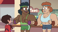 S4E26 Bodybuilders look excited at each other