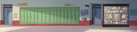 School Spirit background - Echo Creek Academy hallway pan