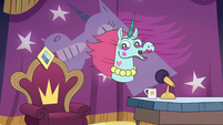 S4E9 Pony Head with a desk and chair