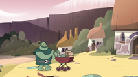 S3E17 Buff Frog walking through the monster village