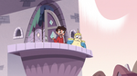 S3E4 River and Marco walk onto the castle balcony