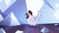 S4E24 Rooster with ribbon around its beak