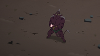 S4E32 Globgor overshadowed by Solarian warrior