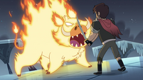 S4E5 Fire demon roaring at adult Marco