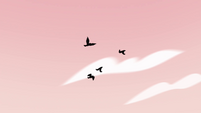 S4E15 Crows flying through the pink sky