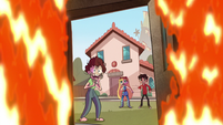 S1E13 Star, Marco, and woman look inside flames
