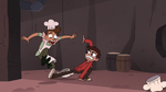S4E2 Marco Diaz sweeps Pie Folk's leg