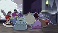 S3E16 Princesses crowd around Miss Heinous' car