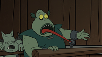 S2E20 Buff Frog stretching his tongue at the chain lock