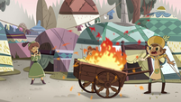 S4E24 Villager's cart bursts into flames