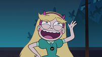 S2E41 Star Butterfly goofily waving goodbye to Oskar