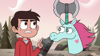 S3E37 Marco pointing at Pony Head's axe