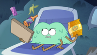 S3E19 Tad holding pizza box, chip bag, and soda bottle