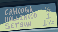 S1E10 Cahooga-Holliwood-Setsun highway sign