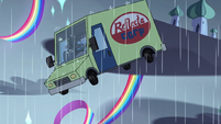 S3E35 Reflectacorp van sailing through the air