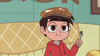 S4E27 Marco eating pancakes off his head