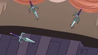 S4E12 Rest of librarian's daggers thrust into the wall
