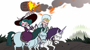 S3E36 Flaming barrel flies over Moon and Eclipsa