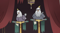S3E36 King and Queen Pigeon staring blankly