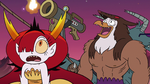 S3E22 Hekapoo and Talon watching the harpoon fly