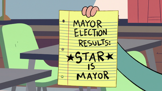 S2E16 Paper showing 'mayor election results'