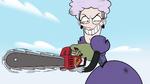 S2E36 Miss Heinous wielding Rasticore's chainsaw