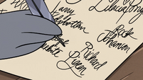 S3E20 Rich Pigeon signing the Petition of Friendship