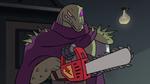 S2E18 Rasticore holding a dimensional chainsaw