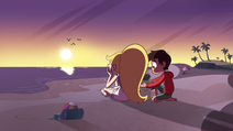S4E27 Star and Marco on the beach at sunset