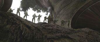 41st Elite Corps Swamp Troopers fighting on Kashyyyk