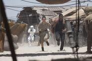 Finn & Rey Running from Stormtrooper