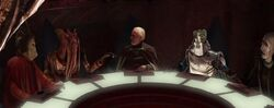 Count Dooku and the Separatist Council members Nute Gunray Poggle the Lesser Wat Tambor and San Hill