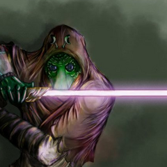 The courageous Jedi Rodian named <b>Jogie</b> with his purple lightsaber, dueling Nihl before he was struck down.