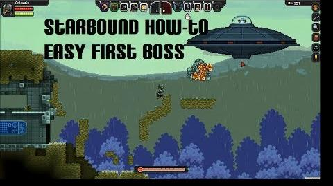 Starbound - How To Beat The Penguin UFO ( First Boss )