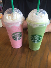 Green and pink drinks
