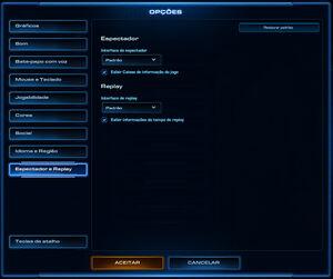 Menu Opções do Jogo SCII Espectador e Replay01