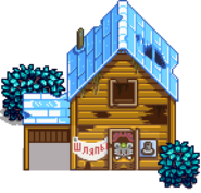 Разрушенный дом зима