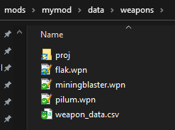 Mymod weapons file structure