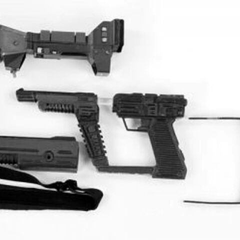 Sirian laser pistol with carbine conversion parts