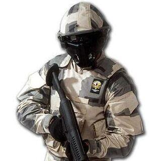 Soldier in full-body skeinsuit plus helmet