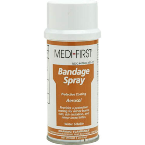 Commercial-grade can of spray bandage of the type commonly included in <a href=