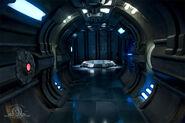 Couloir d'un vaisseau-mère des aliens bleu
