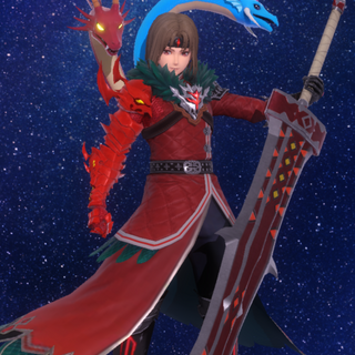 Blazing Ashton's in-game model in Star Ocean: Anamnesis.