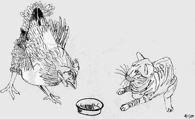Cat vs chicken sketch by mmpratt99-d1wkuyy