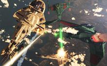 Klingon warships in battle with Cardassians