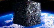 Borg cube ship over earth