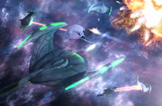 Romulan starships in battle with the Federation