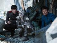 Jaylah assisting Spock & McCoy