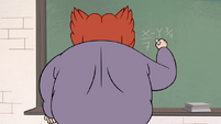 S1E3 Miss Skullnick writing on chalkboard