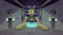 S1E8 Riddle Sphinx talking to skeleton door